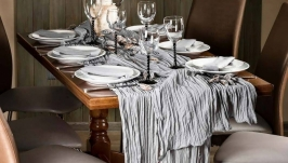 Tablecloth runner set with 6 napkins, Wedding Gray
