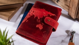 Портмоне для документів  ID  HiArt PB-021 Shabby Red Berry ′World Map′