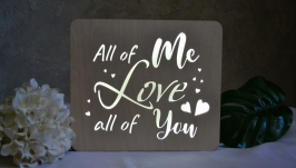 Нічник з написом - All of me love all of you