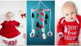 Christmas Baby Mobile handmade white Dreamcatcher