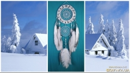 Snow Dreamcatcher White mosaic Dream Catcher Large