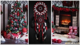 Dreamcatcher red black silver mosaic Dream Catcher Large