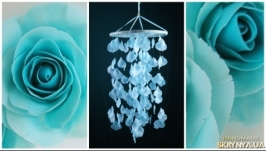Blue Rose petals Baby Mobile handmade exclusive Dreamcatcher