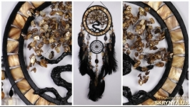 Gold Dream Catcher Tree of life black Dreamcatcher agate nacre Golden