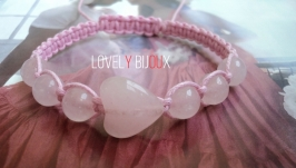 Браслет шамбала ROSE QUARTZ HEART FASHION CHIC из розового кварца