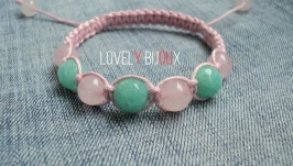 Браслет шамбала ROSE QUARTZ MINT AMAZONITE FASHION CHIC