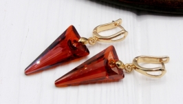 Серьги Swarovski Стрелы Red Magma большие
